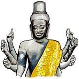 Sculpture of Wishnu in Angkor wat. Vector illustration Royalty Free Stock Photo
