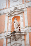 Sculpture of a woman on the front of the house Royalty Free Stock Photo