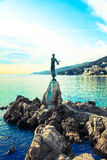 Sculpture of the woman with the sea. Royalty Free Stock Photos