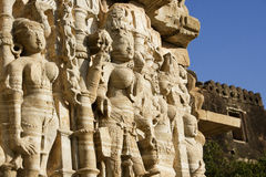 Sculpture of Women. A sculpture of many women from one of the temples at Chittor.  The women are very shapely and are probably for entertainment or spirital Royalty Free Stock Photos