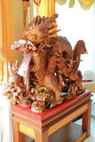 Sculpture wood dragon. The image of the old sculpture wood dragon Stock Photos