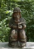 Sculpture from wood. In frest polish mountains - Bieszczady during summer Royalty Free Stock Photography