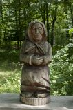 Sculpture from wood. In frest polish mountains - Bieszczady during summer Stock Photos