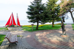 "Sculpture ""Assol"" and landscape composition ""Sailboat"" on Gelendzhik promenade Royalty Free Stock Photos"