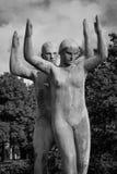 Sculpture - Young couple doing gymnastics, The Vigelands Park Stock Images