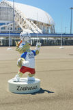 Sculpture Zabivaki - humanoid wolf, the official mascot of the FIFA world Cup 2018 in the Olympic Park. Preparations for the FIFA Royalty Free Stock Photo