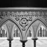 Sculptured arcade. Cloister of the Merveille. royalty free stock photos