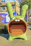 Sculptured bunny bench by the sculptor Constantin Royalty Free Stock Photo