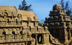 Sculptured dooms in mahabalipuram- five rathas. Ancient monuments -UNESCO World Heritage centre-Group of Monuments at Mahabalipuram-nFounded by the Pallava kings Royalty Free Stock Image