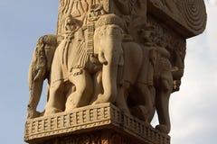 Sculptured Elephants at Sanchi Stock Photo