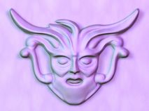 Sculptured face. Sculptured purple satue face 3D isolated Stock Photography