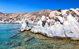 Sculptured granite blocks Kolimbithres beach, Paros, Greece Royalty Free Stock Images