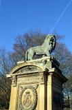 A sculptured lion on a pillar Royalty Free Stock Photos