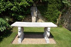Sculptured marble table at the Italian garden of Hever castle in England Stock Photography