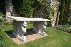 Sculptured marble table at the Italian garden of Hever castle in England Royalty Free Stock Image