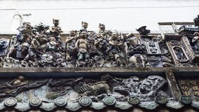 Sculptured roof of Chua Ba Thien Hau buddhist temple in Ho CHi Minh City, Vietnam stock images