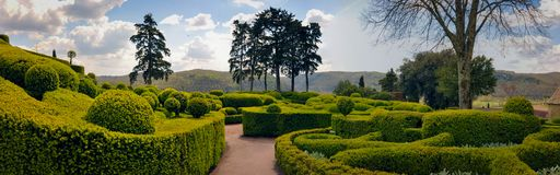 Sculptured Trees and Bushes in the Garden of Marqueyssac Royalty Free Stock Image