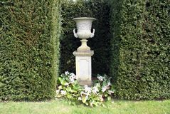 Sculptured urn on a plinth. At a tourist attraction landscape in England, Europe Stock Photo