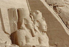 Sculptures at Abu Simbel temples in Egypt Royalty Free Stock Images
