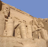 Sculptures at Abu Simbel temples Stock Images