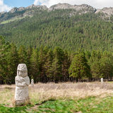 Sculptures of ancient Kazakhs in the resort area of Borovoye in Kazakhstan. The picture shows a picturesque place in a conservation area, where walking and Royalty Free Stock Images
