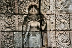 The sculptures in angkor wat in cambodia Royalty Free Stock Photos