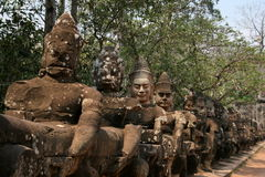 The sculptures in angkor wat of cambodia Royalty Free Stock Photography