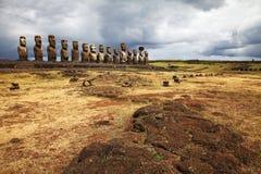 Sculptures antiques sur l'île orientale, Chili photos libres de droits