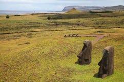 Sculptures antiques sur l'île orientale, Chili image libre de droits