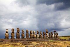Sculptures antiques sur l'île orientale, Chili photos stock