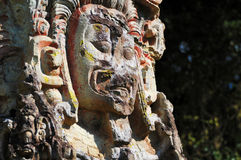 Sculptures in Archeological park in Copan ruinas Royalty Free Stock Photography