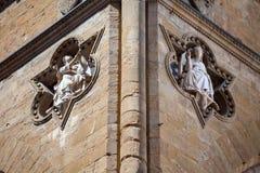 Sculptures architectural detail of Loggia de Lanzi Stock Photos