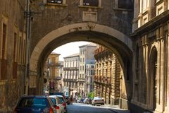 Sculptures and architecture of Catania Sicily stock photos