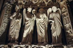 Sculptures and Architecture Details of Notre Dame Royalty Free Stock Photo