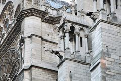 Sculptures and architecture of the facade of Notre Dame Cathedral. Paris. 01.10.2011 royalty free stock photos