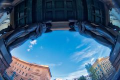 Sculptures of Atlantis of the New Hermitage, Saint Petersburg, Russia. Fish eye lens creating a super wide angle view. Stock Images