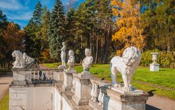 Sculptures in the autumn park Royalty Free Stock Photo