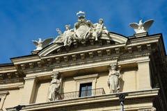 Sculptures in a balcony. At Republic Square Piazza della Repubblica. Rome, Italy Royalty Free Stock Photography