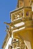 Sculptures on balcony, Malta. A set of sculptures on an old historic balcony in Mdina, Malta Stock Photos