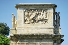 Sculptures and bas-reliefs. Bas-reliefs and sculptures on the triumphal arch of the Constantine emperor in Rome Royalty Free Stock Photo