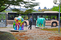 Sculptures Beauty in freedom by Noppawan Nuansiri, part of exhibition Elephant Parade in Luxembourg Stock Photos