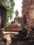 Sculptures of Big Buddha. In ancient Ayutthaya Thailand Stock Images