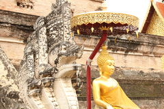 Sculptures at a buddhist temple in Chiang Mai, Thailand Stock Image