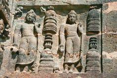 Sculptures on the Buddhist temples at Ajanta. Stone sculptures on the Ancient Buddhist Rock temples at Ajanta , Maharashtra, India Royalty Free Stock Photography