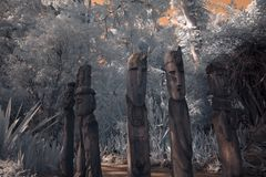 Sculptures Carved Effigies Infrared Royalty Free Stock Photo