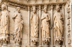 Sculptures at the Cathedral Notre Dame in Reims Stock Images