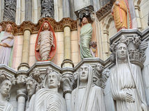 Sculptures of the Cathedral of St. John the Divine. Sculptures embedded into the exterior of the Cathedral of St. John the Divine royalty free stock photography