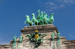 Sculptures on Cinquantenaire Arch in Brussels, Belgium Royalty Free Stock Photo