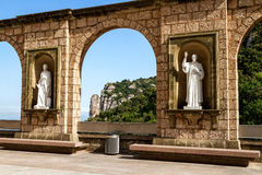 Sculptures in the cloister Montserrat Monastery Royalty Free Stock Image