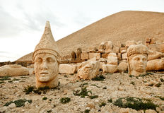 Sculptures of the Commagene Kingdom, Nemrut Mountain. The tomb or the Hierotheseion of Nemrut Dağ bears unique testimony to the civilization of the kingdom of Stock Images